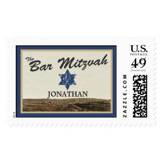Vintage Jerusalem Bar Mitzvah Stamp Navy Large
