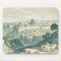 Vintage Jerusalem Dome And Wall Landscape Mousepad at Zazzle