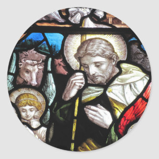 Vintage Jesus as Shepherd Glass Classic Round Sticker