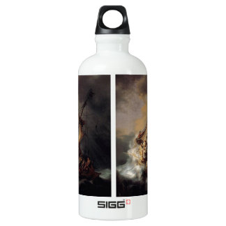 Vintage Jesus calming storm painting Aluminum Water Bottle