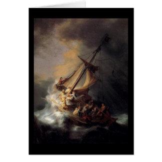Vintage Jesus calming storm painting Greeting Card