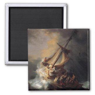 Vintage Jesus calming storm painting Fridge Magnet