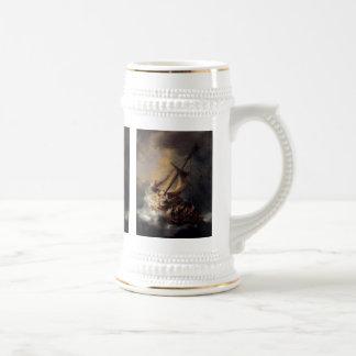 Vintage Jesus calming storm painting 18 Oz Beer Stein