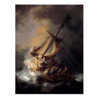 Vintage Jesus calming storm painting Postcard