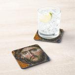 Vintage Jesus Christ Portrait Medieval Mosaic Beverage Coaster