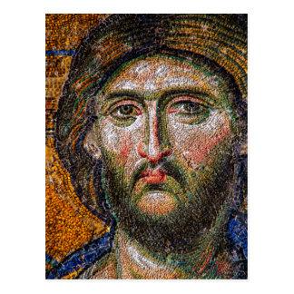 Vintage Jesus Christ Portrait Medieval Mosaic L Postcard