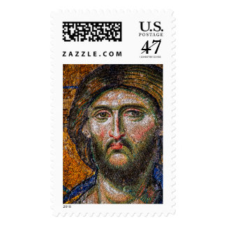Vintage Jesus Christ Portrait Medieval Mosaic Stamp