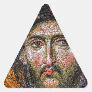 Vintage Jesus Christ Portrait Medieval Mosaic Triangle Sticker