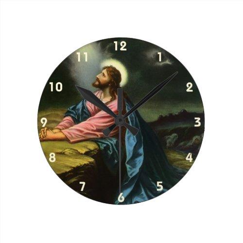 Vintage Jesus Christ Praying, Garden of Gethsemane Round Clock