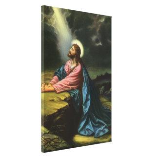 Vintage Jesus Christ Praying in Gethsemane Canvas Print