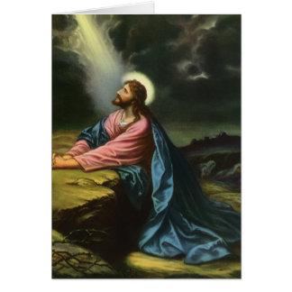 Vintage Jesus Christ Praying in Gethsemane Card