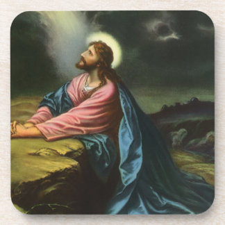 Vintage Jesus Christ Praying in Gethsemane Drink Coaster