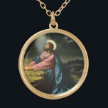 """Vintage Jesus Christ Praying in Gethsemane Gold Finish Necklace<br><div class=""""desc"""">Vintage illustration religious design featuring Jesus Christ praying in Gethsemane. Jesus Christ is wearing a long flowing robe and praying while looking up towards Heaven with a star shining down, he is deep in thought and prayer. Gethsemane is a garden at the foot of the Mount of Olives in Jerusalem,...</div>"""