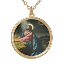 Vintage Jesus Christ Praying in Gethsemane Gold Plated Necklace