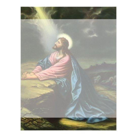 Vintage Jesus Christ Praying in Gethsemane Letterhead