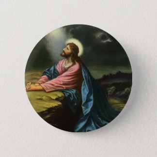 Vintage Jesus Christ Praying in Gethsemane Pinback Button