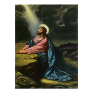 Vintage Jesus Christ Praying in Gethsemane Poster