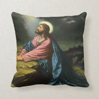 Vintage Jesus Christ Praying in Gethsemane Throw Pillow
