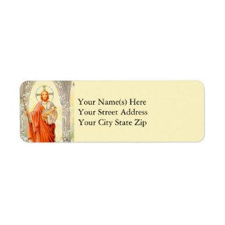 Vintage Jesús con el cordero Etiqueta De Remitente