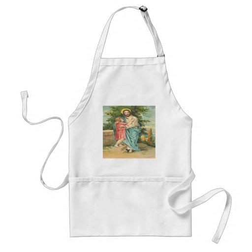Vintage Jesus Holding Little Boy Aprons