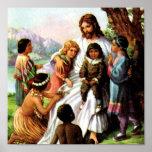 Vintage Jesus Loves Poster 15x15