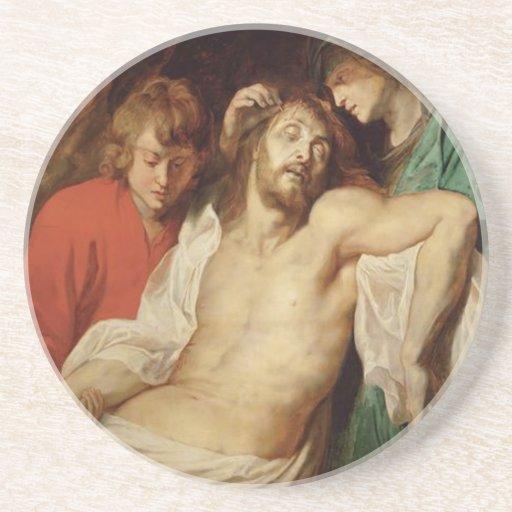 Vintage Jesus painting religious sandstone coaster