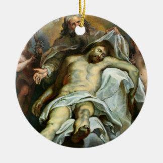Vintage Jesús que pinta el ornamento del día de Adorno Redondo De Cerámica