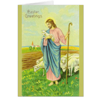 Vintage Jesus Shepherd Easter Greeting Card
