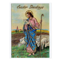 Vintage Jesus With Sheep Easter Greetings Postcard