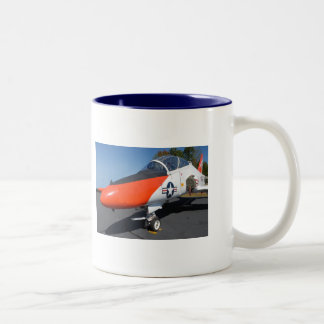 vintage jet fighter aircraft Two-Tone coffee mug