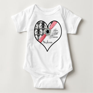 Vintage Jewel Buckle Black White Damask Ribbon Baby Bodysuit