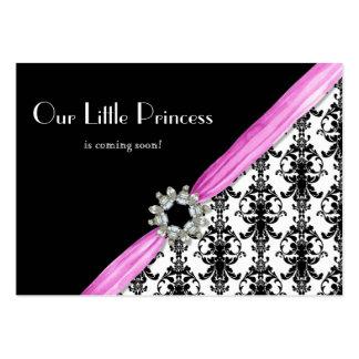 Vintage Jewel Buckle Black White Damask Ribbon Large Business Cards (Pack Of 100)