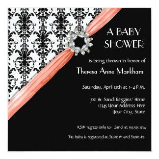 Vintage Jewel Buckle Black White Damask Ribbon Card