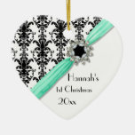 Vintage Jewel Buckle Black White Damask Ribbon Double-Sided Heart Ceramic Christmas Ornament