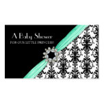 Vintage Jewel Buckle Black White Damask Ribbon Double-Sided Standard Business Cards (Pack Of 100)