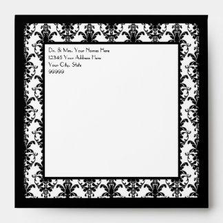 Vintage Jewel Buckle Black White Damask Ribbon Envelopes