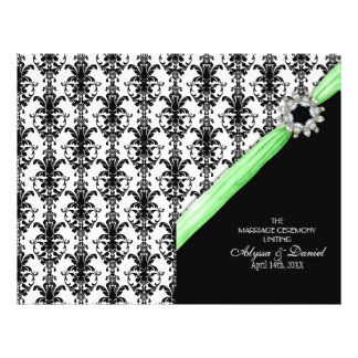 Vintage Jewel Buckle Black White Damask Ribbon Flyer