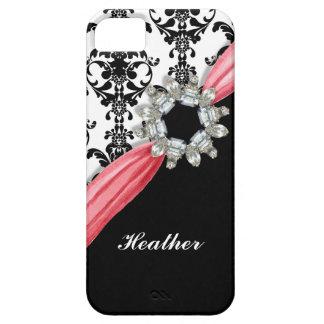 Vintage Jewel Buckle Black White Damask Ribbon iPhone SE/5/5s Case