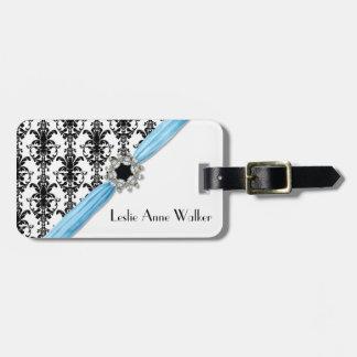 Vintage Jewel Buckle Black White Damask Ribbon Travel Bag Tag
