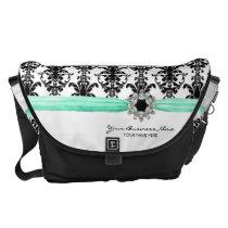 Vintage Jewel Buckle Black White Damask Ribbon Messenger Bag