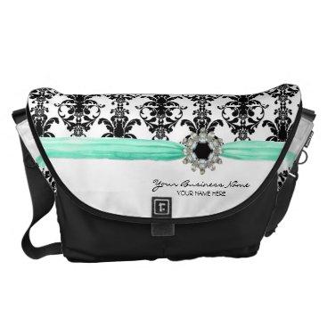 Professional Business Vintage Jewel Buckle Black White Damask Ribbon Messenger Bag