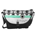 Vintage Jewel Buckle Black White Damask Ribbon Messenger Bags