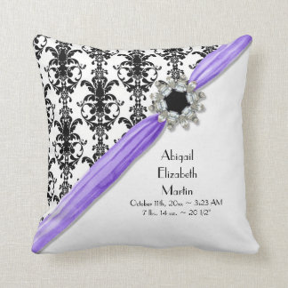 Vintage Jewel Buckle Black White Damask Ribbon Throw Pillow