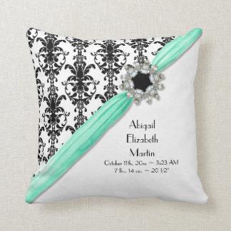 Vintage Jewel Buckle Black White Damask Ribbon Throw Pillows