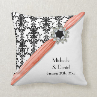 Vintage Jewel Buckle Black White Damask Ribbon Pillows