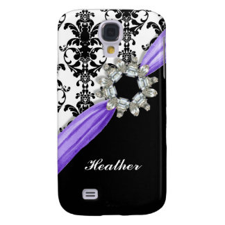 Vintage Jewel Buckle Black White Damask Ribbon Samsung Galaxy S4 Cover