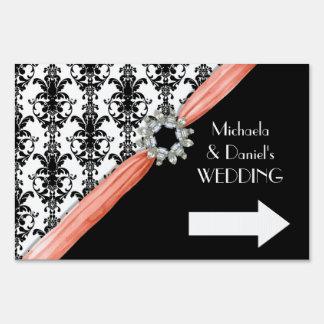 Vintage Jewel Buckle Black White Damask Ribbon Sign