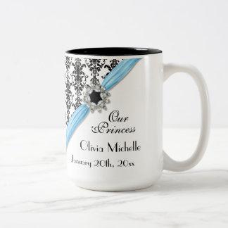 Vintage Jewel Buckle Black White Damask Ribbon Two-Tone Coffee Mug