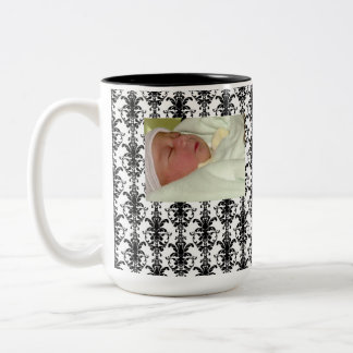 Vintage Jewel Buckle Black White Damask Ribbon Two-Tone Coffee Mug