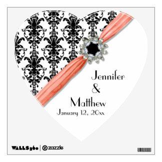 Vintage Jewel Buckle Black White Damask Ribbon Wall Sticker